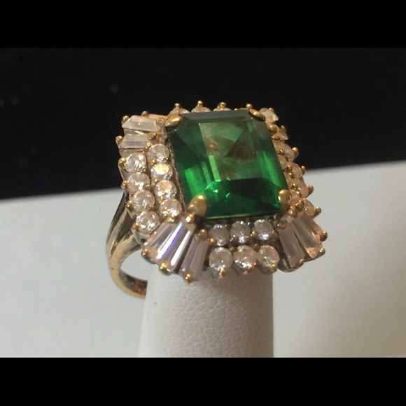Vintage Sterling Vermeil Crystal Cocktail Ring